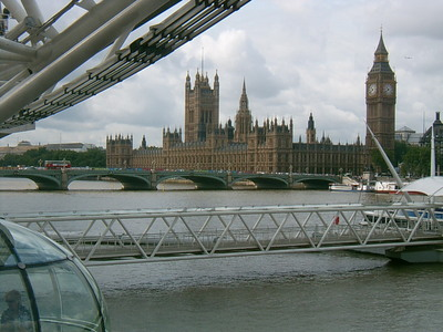 Le parlement et Big Ben, depuis the Big Eye (Londres, 1 juillet 2005)